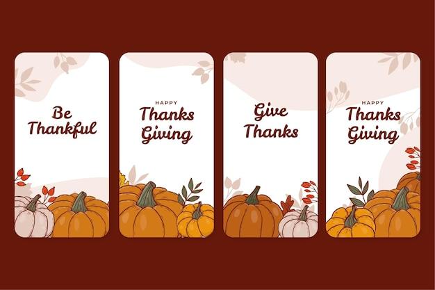 手描きの感謝祭のinstagramストーリーコレクション