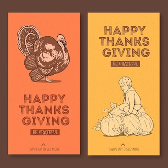 Hand drawn thanksgiving instagram stories