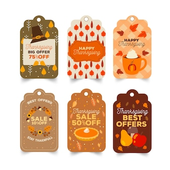 Hand drawn thanksgiving label badge set