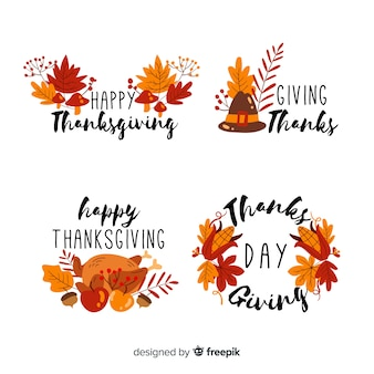 Hand drawn thanksgiving label collection
