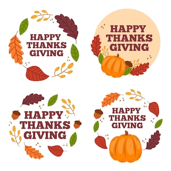 Ручной обращается коллекция этикеток благодарения