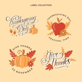 Hand drawn thanksgiving labels collection
