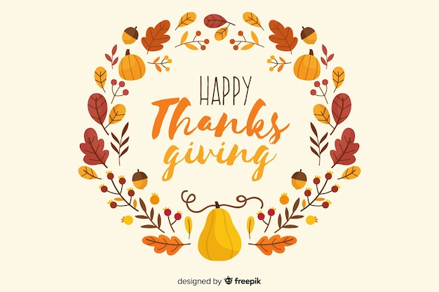 Hand drawn thanksgiving leaves background
