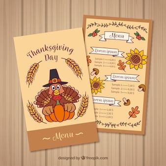 Hand drawn thanksgiving menu