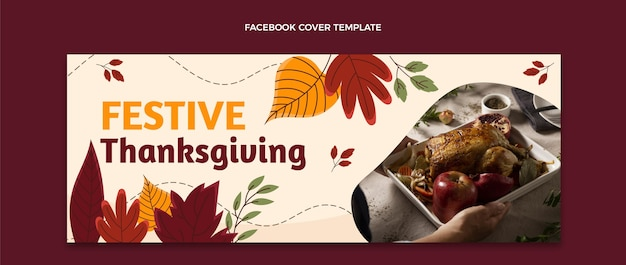 Hand drawn thanksgiving social media cover template