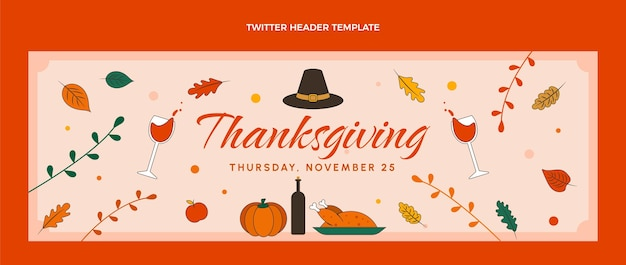 Modello di copertina twitter del ringraziamento disegnato a mano