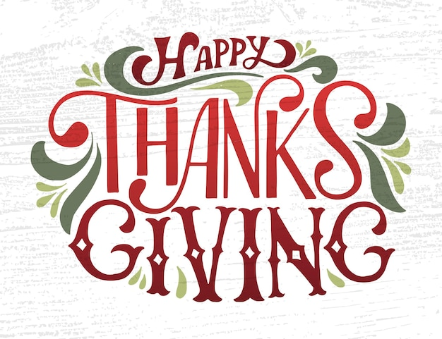 손으로 그린 추수 감사절 타이포그래피 포스터입니다. 엽서, 추수 감사절 아이콘, 로고 또는 배지에 대한 질감된 배경에 축하 인용