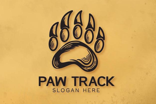 Нарисованный рукой логотип следа медведя