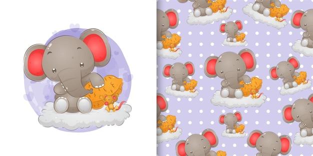 イラストの雲の上のナットの近くに座っている小さなマウスで小さな象を手描き