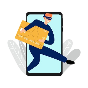 Hand drawn thief of credit cards money via phone mobile bank concept