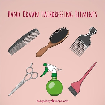 Hand drawn things of hairdrassing