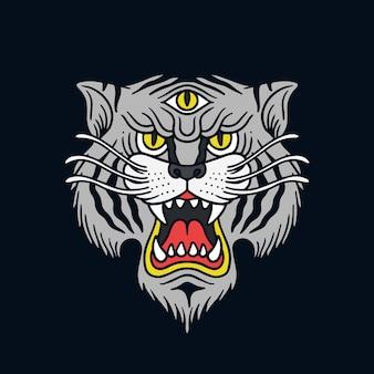Hand drawn three eyed white tiger illustration