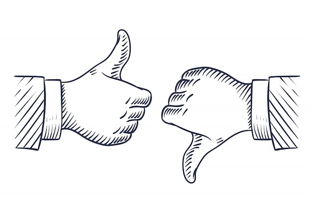 Hand drawn thumbs up and down.