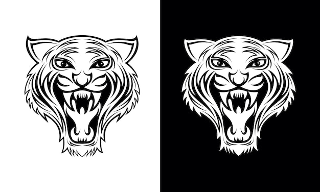 Hand drawn tiger face tattoo design vector