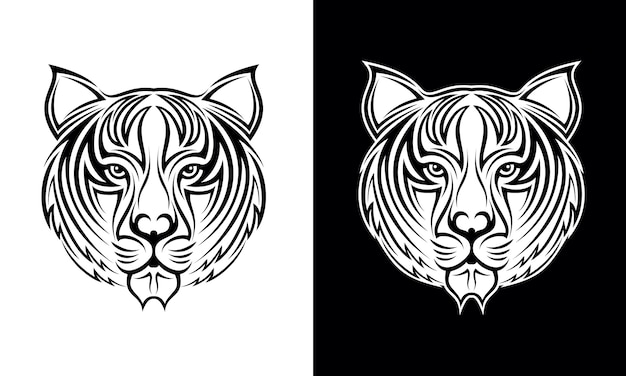 Hand drawn tiger head tattoo design vector