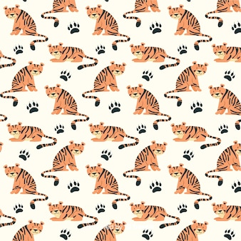 Hand drawn tiger pattern background