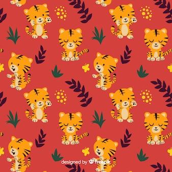 Hand drawn tiger pattern background