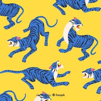 Ручной обращается фон модель тигра Бесплатные векторы