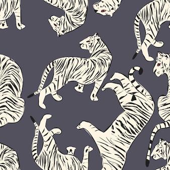 Hand drawn tiger seamless pattern