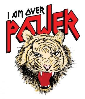 Hand drawn tiger vector for t shirt printing