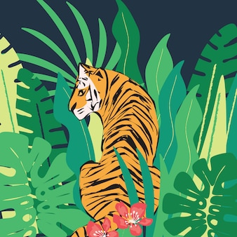 Hand drawn tiger with exotic tropical leaves