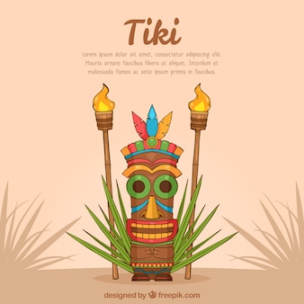 Hand drawn tiki background with mask and torches