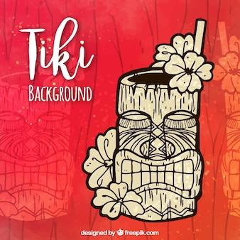 Hand drawn tiki background with tropical cocktail