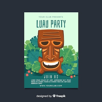 Hand drawn tiki mask luau party poster template