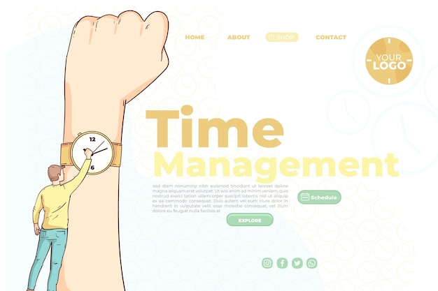 Hand drawn time management landing page template