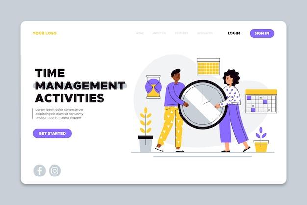 Pagina di destinazione della gestione del tempo disegnata a mano