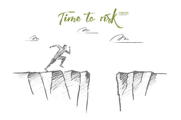 Hand drawn time to risk concept sketch