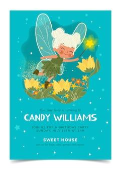 手描きの小さな妖精の誕生日の招待状のテンプレート
