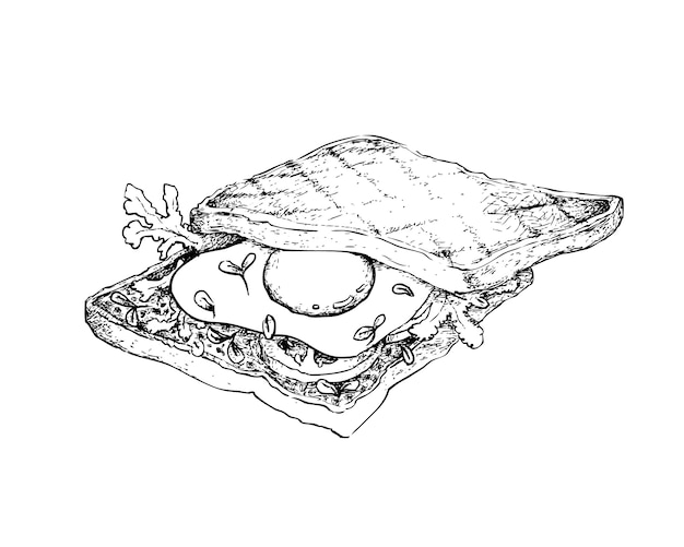 Hand drawn of toasted sandwich on white background