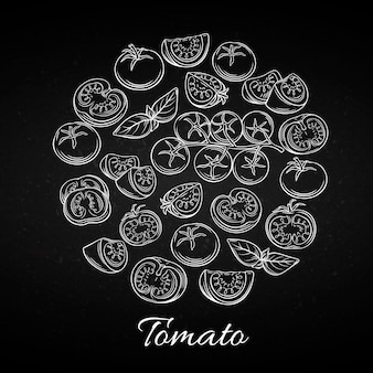 Hand drawn tomato icons set.
