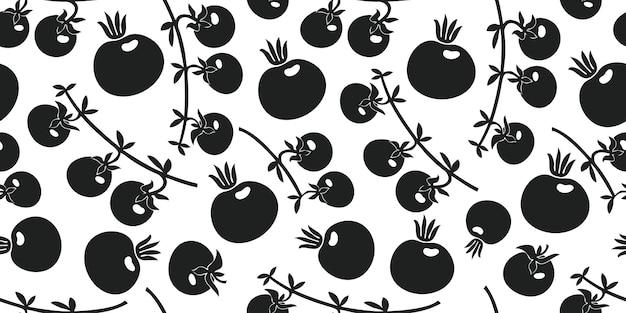 手描きのトマトのシームレスなパターン。有機漫画の新鮮な野菜