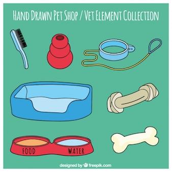 애완 동물가 게의 손으로 그린 도구 세트