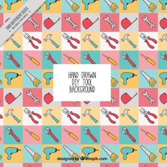 Hand-drawn tools collage background