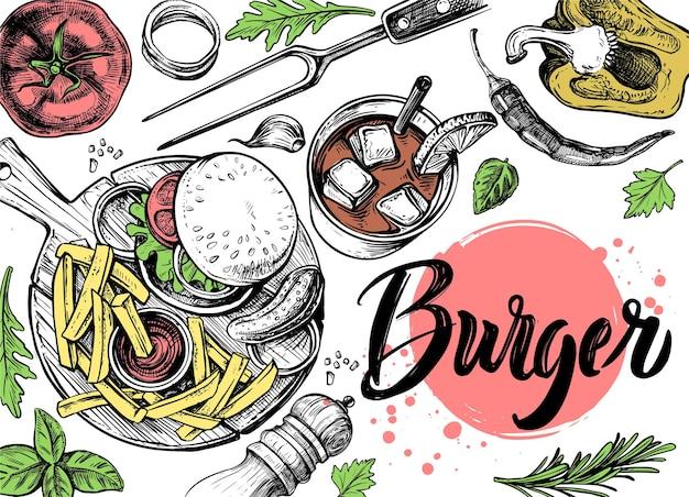 フライドポテトと手描きのトップビューハンバーガー。