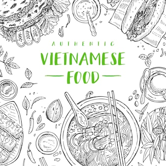 Hand drawn top view traditional vietnamese food,  illustration