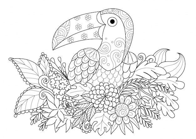 Hand drawn toucan with flowers