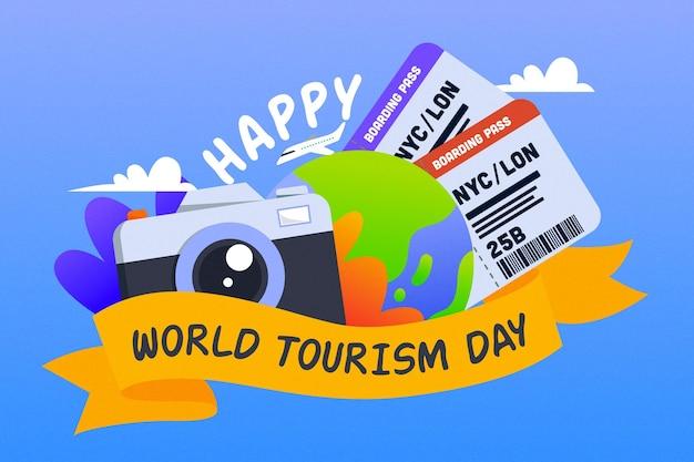 손으로 그린 관광의 날 개념