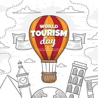 Нарисованная рукой концепция дня туризма