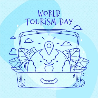 Hand-drawn tourism day theme