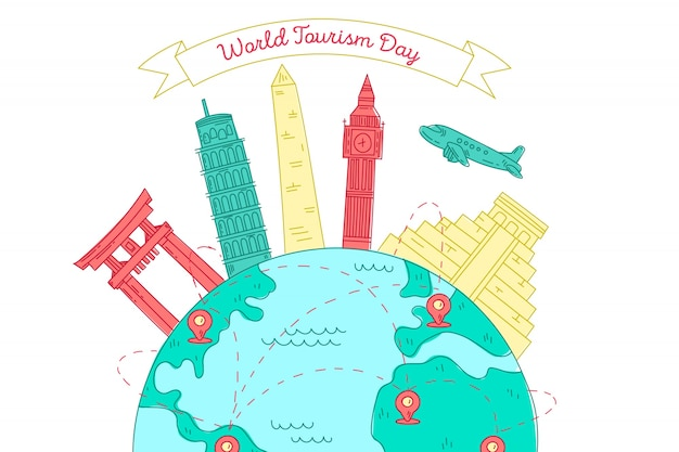 Hand drawn tourism day with landmarks