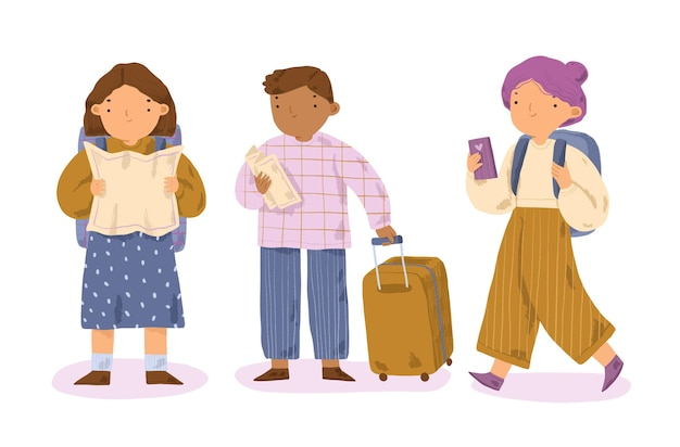 Turisti disegnati a mano illustrati