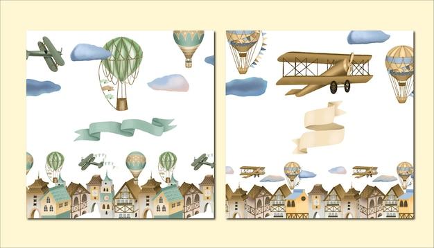 手描きの町、レトロな飛行機と熱気球のイラスト、グリーティングカードテンプレートのセット