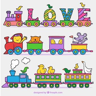 Hand drawn toy trains