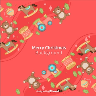 Hand drawn toys christmas background