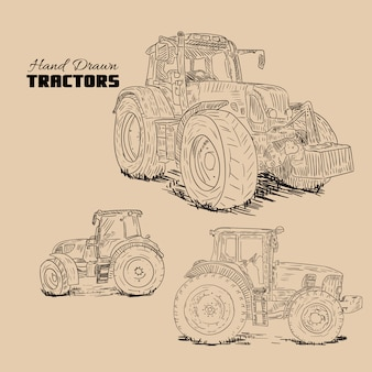 Hand drawn tractors collection