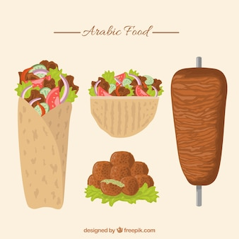 Hand drawn traditional arabic food pack